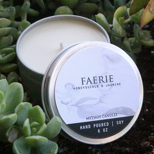 Mythos Candles 6oz Tin Faerie (Honeysuckle & Jasmine) Soy Candle
