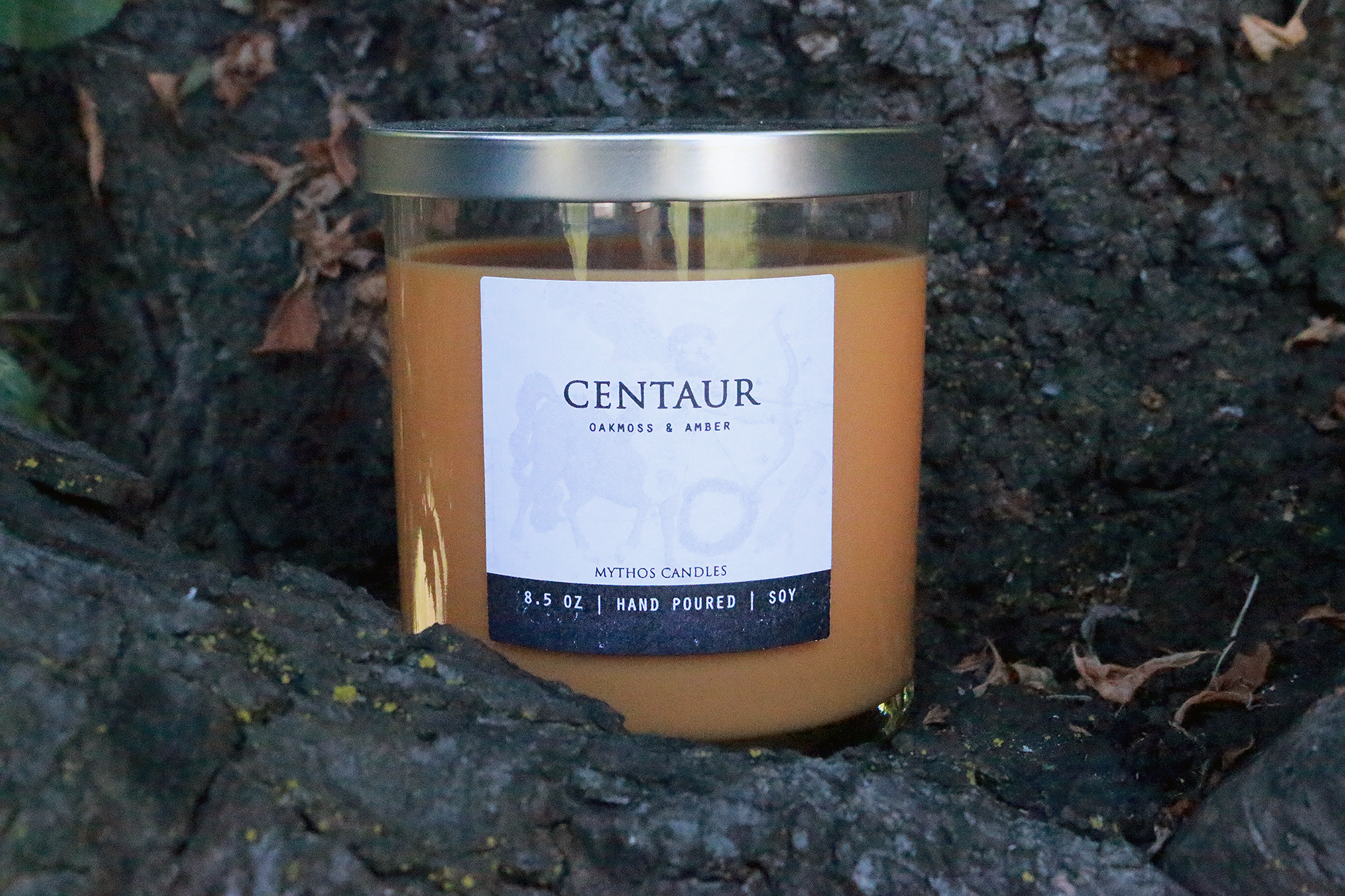 Mythos Candles 8.5oz Centaur (Oakmoss & Amber) Strong Scented Soy Candle