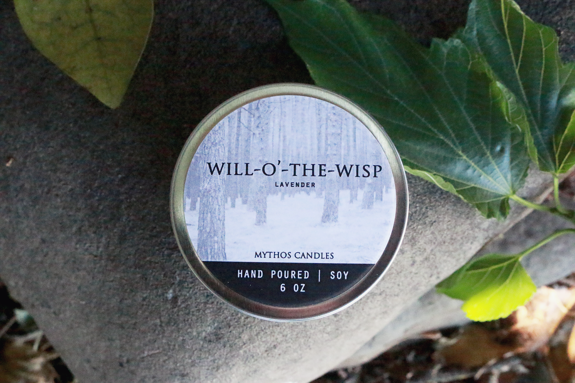 Mythos Candles 6oz Tin Will-O'-the Wisp (Lavender) Soy Candle