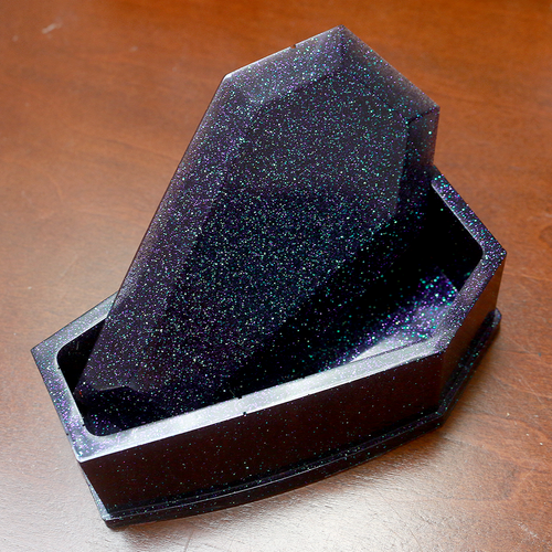 Purple Glitter Coffin Box