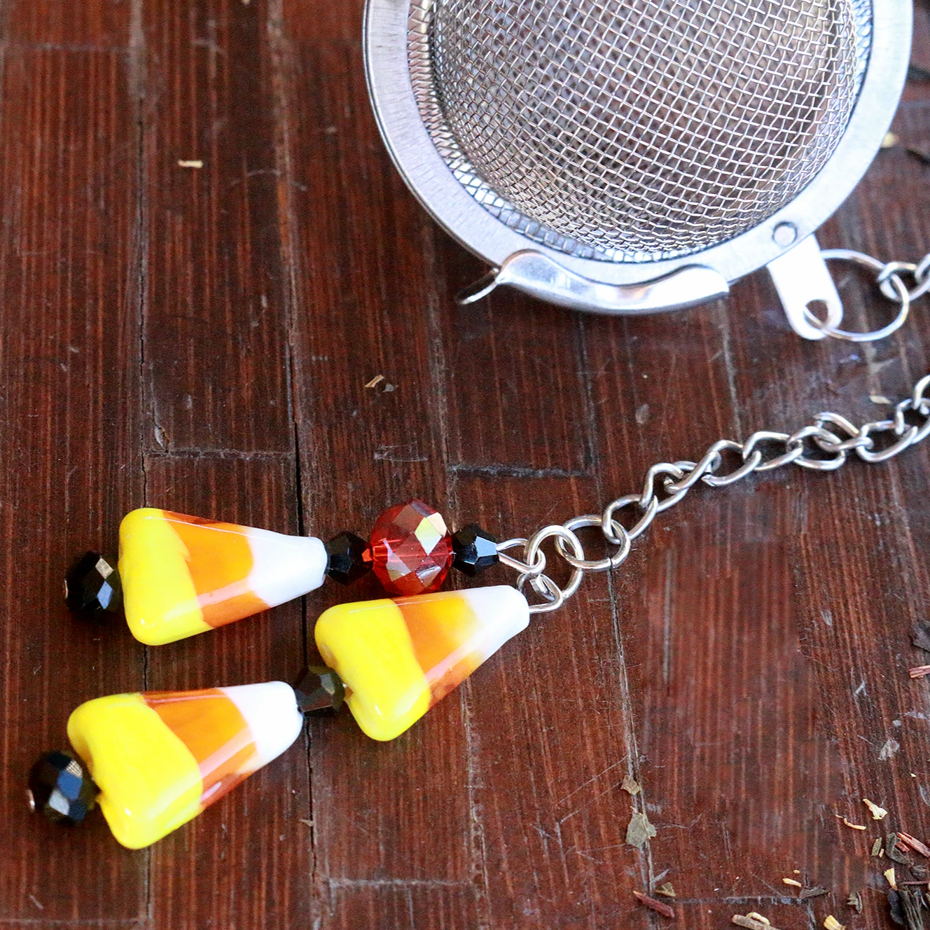 Candy Corn Beaded Mesh Tea Ball Infuser