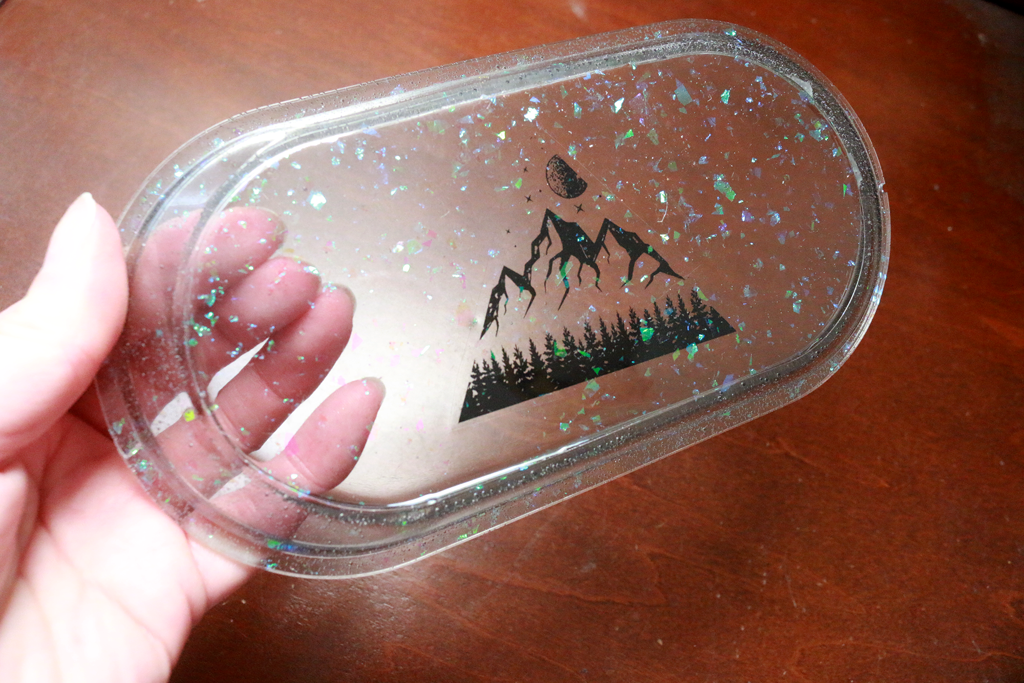 Gray Opal Holo Mountain Oval Tray