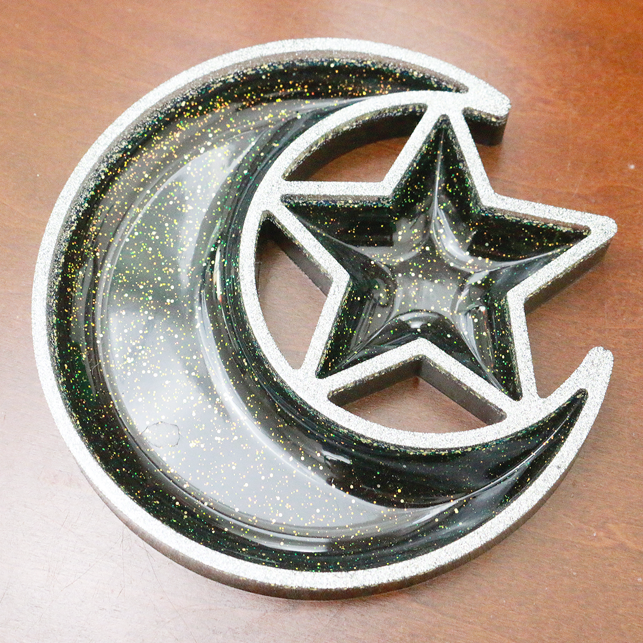 Black Tie Glitter Moon & Star Dish/Tray