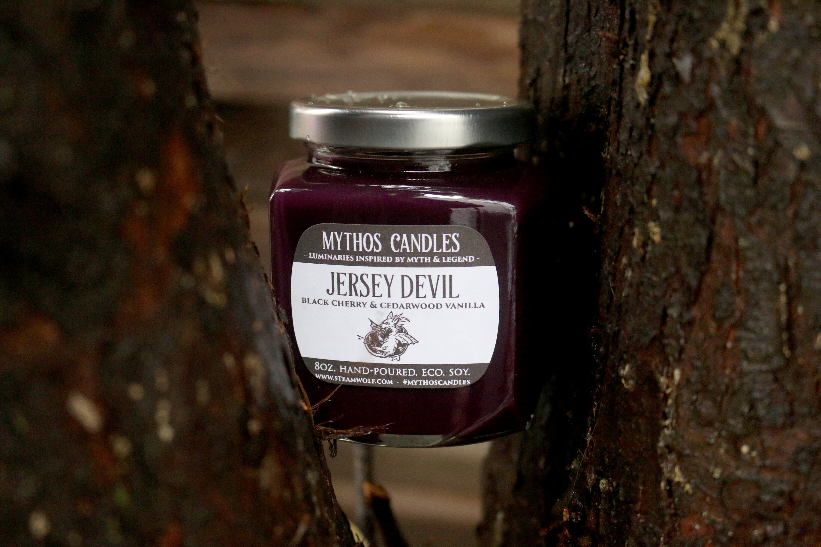 Limited Edition Mythos Candles - Jersey Devil | 8oz. Strong Scented Soy Candle | Black Cherry & Cedarwood Vanilla