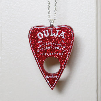 Red Glitter Ouija Planchette Necklace