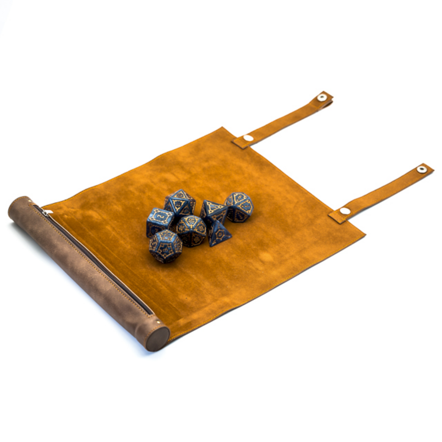 Brown Roll Up Leatherette Dice Mat