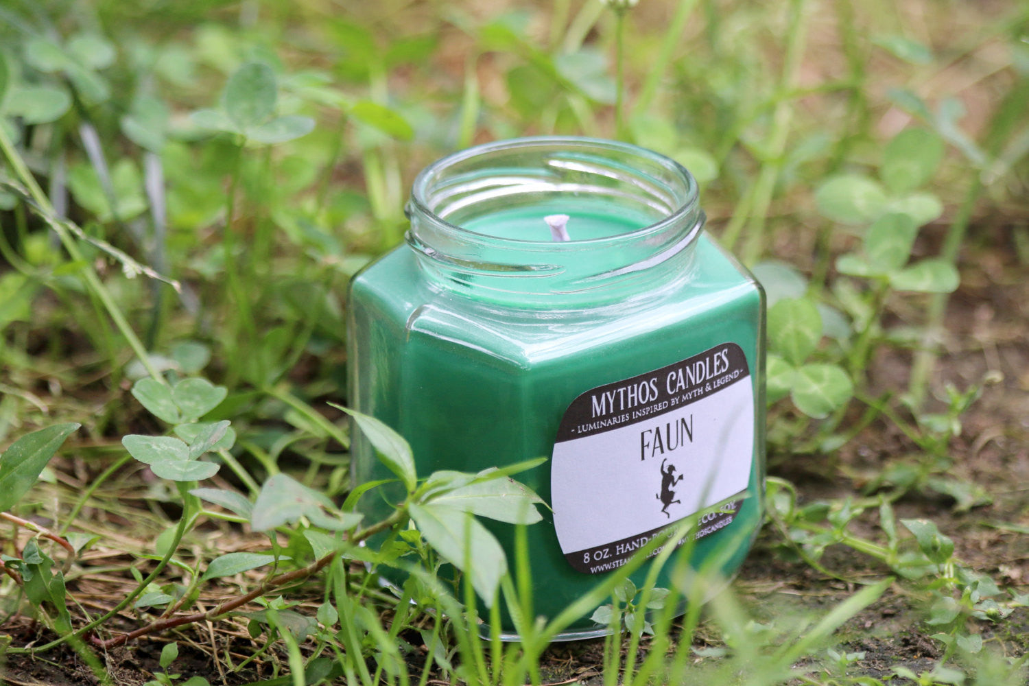 Mythos Candles - Faun | 8oz. Strong Scented Soy Candle | Meadow & Rosemary - SteamWolf Symphony