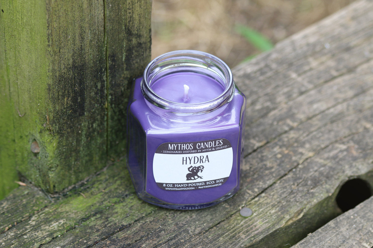 Mythos Candles - Hydra | 8oz. Strong Scented Soy Candle | Moonlake Musk - SteamWolf Symphony