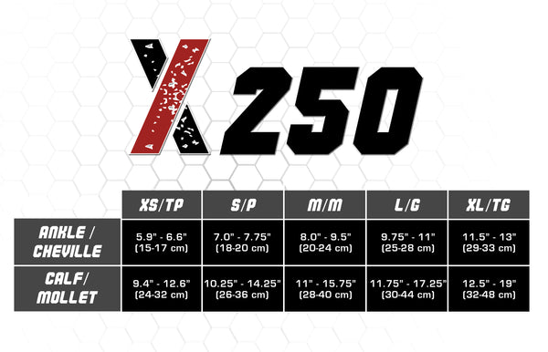 X250, CSX, Calf Sleeve, Compression, Sock, Sleeve, Size Chart, Measurement, Leg