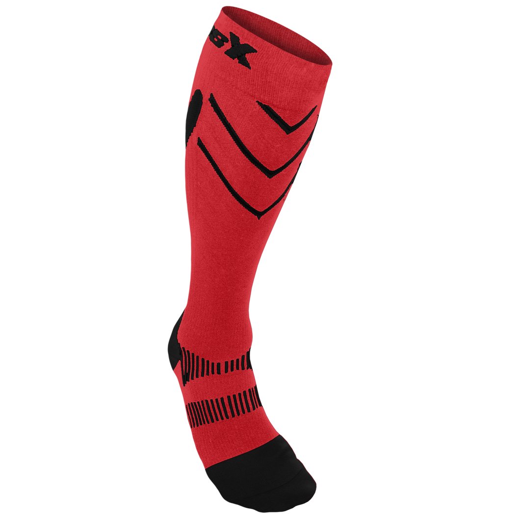 X200, 15-20 mmHg, Knee High, Compression Socks, Black on Red, Front View