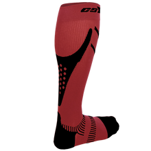 Rear View of CSX 15-20 mmHg Black on Red Compression Socks