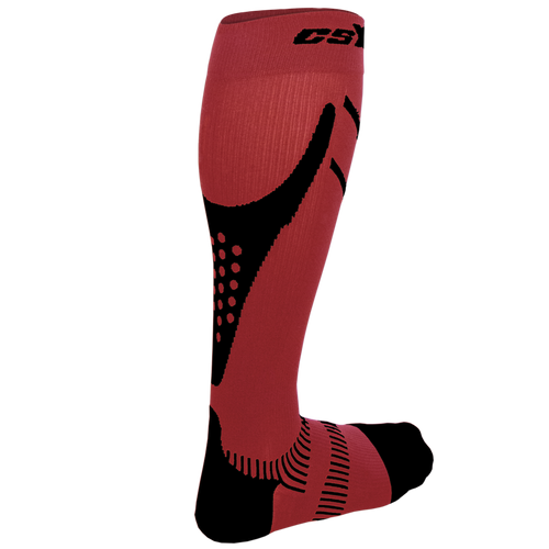 X200, 15-20 mmHg, Knee High, Compression Socks, Black on Red, Rear View