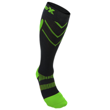 X200, 15-20 mmHg, Knee High, Compression Socks, Green on Black, Front View
