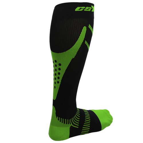 X200, 15-20 mmHg, Knee High, Compression Socks, Green on Black, Rear View