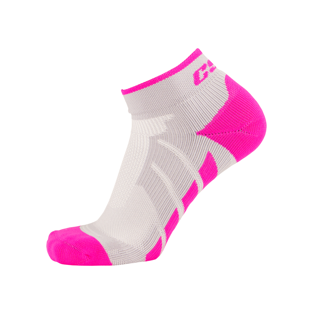 X110, High Cut, Pro Ankle Socks, Pink on Grey, Side View