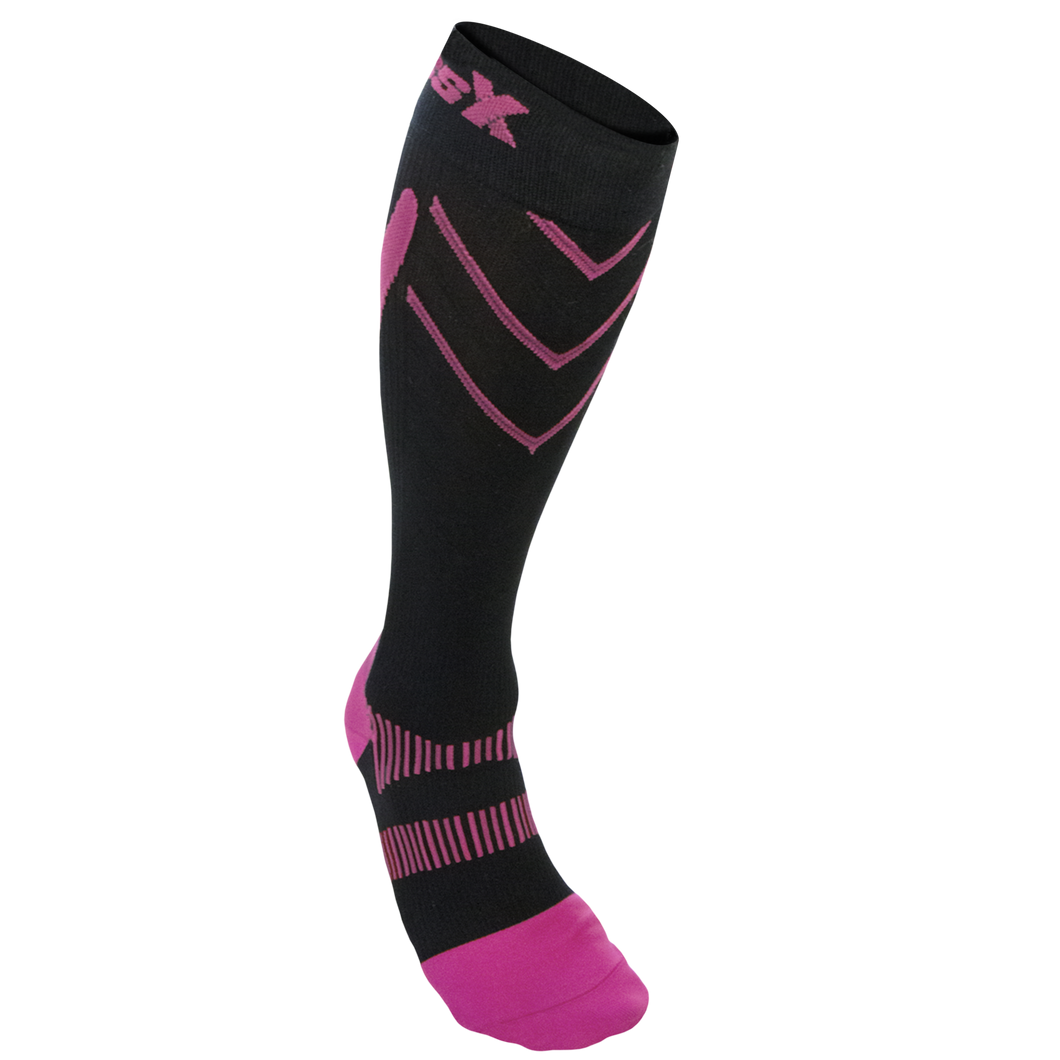 Front View of CSX 20-30 mmHg Pink on Black Compression Socks