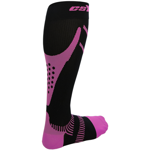 X200, 15-20 mmHg, Knee High, Compression Socks, Pink on Black, Rear View