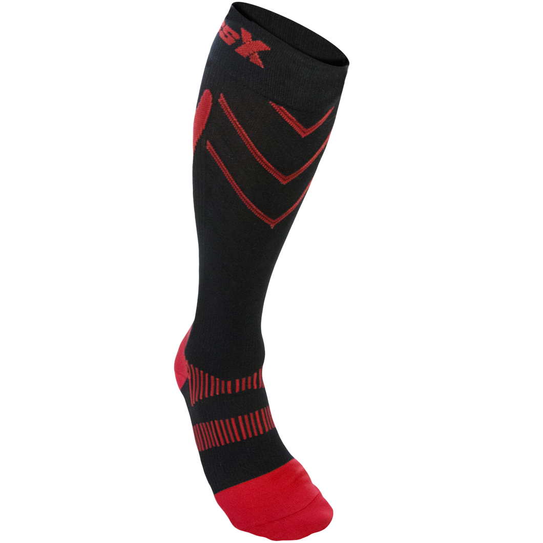 Front View of CSX 15-20 mmHg Red on Black Compression Socks
