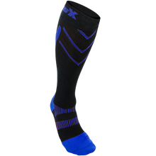 X200, 15-20 mmHg, Knee High, Compression Socks, Royal Blue on Black, Front View