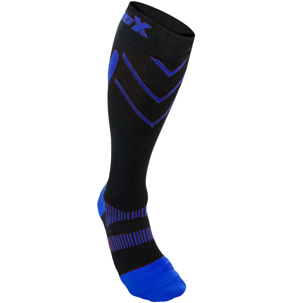 Front View of CSX 20-30 mmHg Royal Blue on Black Compression Socks