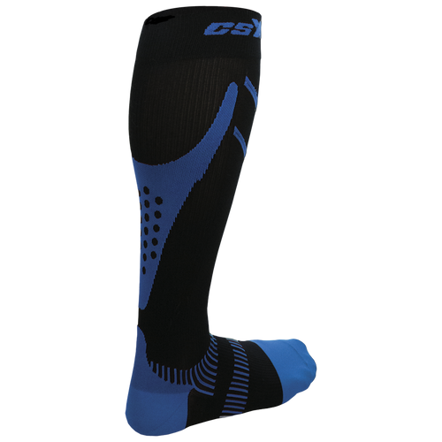 Rear View of CSX 15-20 mmHg Royal Blue on Black Compression Socks