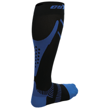 Rear View of CSX 20-30 mmHg Royal Blue on Black Compression Socks