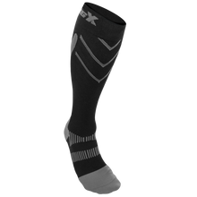 Front View of CSX 20-30 mmHg Silver on Black Compression Socks