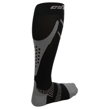 Rear View of CSX 15-20 mmHg Silver on Black Compression Socks