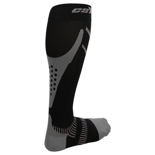 X220, 20-30 mmHg, Knee High, Compression Socks, Silver on Black, Rear View