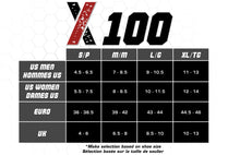 X100, Low Cut, Pro Ankle Socks, Purple on Black, Size Chart