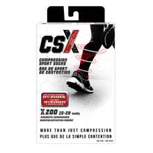 CSX 15-20 mmHg Silver on Black Compression Socks Packaging