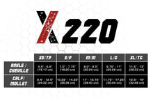 X220, 20-30 mmHg, Knee High, Compression Socks, Red on Black, Size Chart