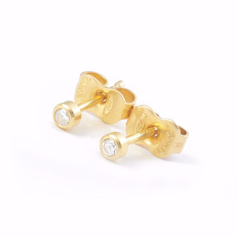 La DIAMANTE 18ct CZ Studs - Yellow