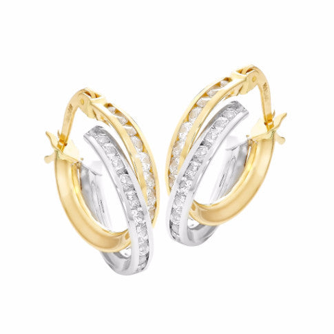 La SPARKLING CROSSOVER 18ct CZ Hoop Earrings