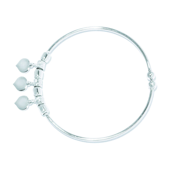 La 3 Charm Heart Cuff Bangle - for all sizes