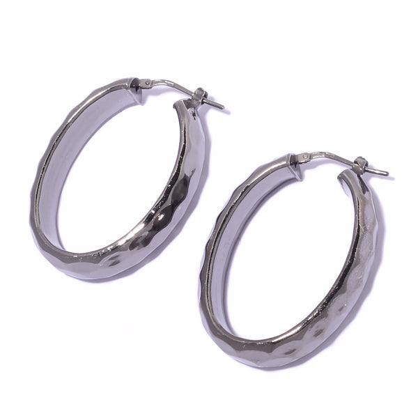 La METALLIC HAMMERED Oval Hoops (Silver or Haematite)