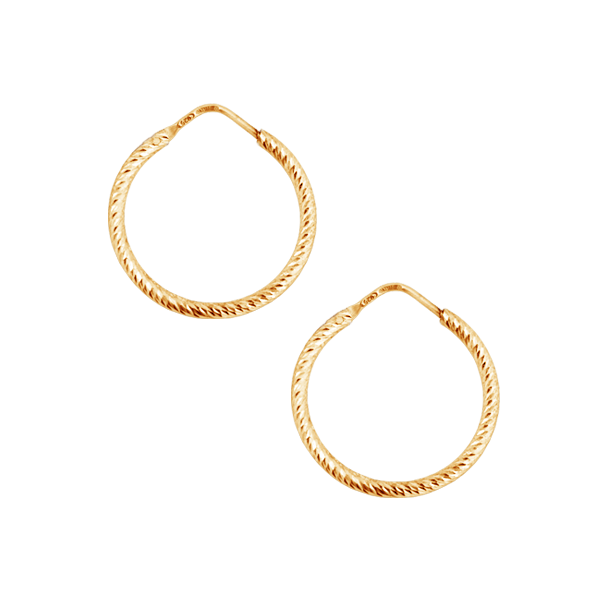 La ROMA Diamond-Cut Yellowgold & Rosegold plated sterling silver SMALL hoop earrings
