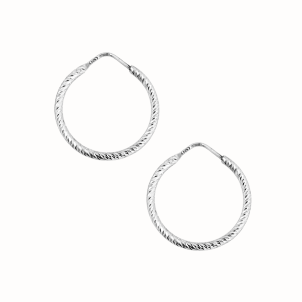 La ROMA SMALL Diamond-Cut Hoops - Silver