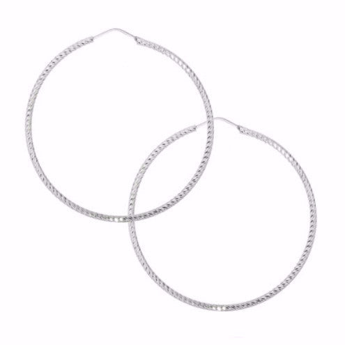 La ROMA Diamond-Cut Hoops - Silver