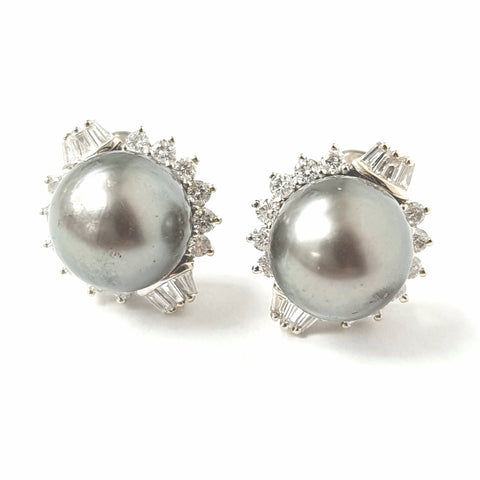 18ct White Gold Pearl & Diamond Studs