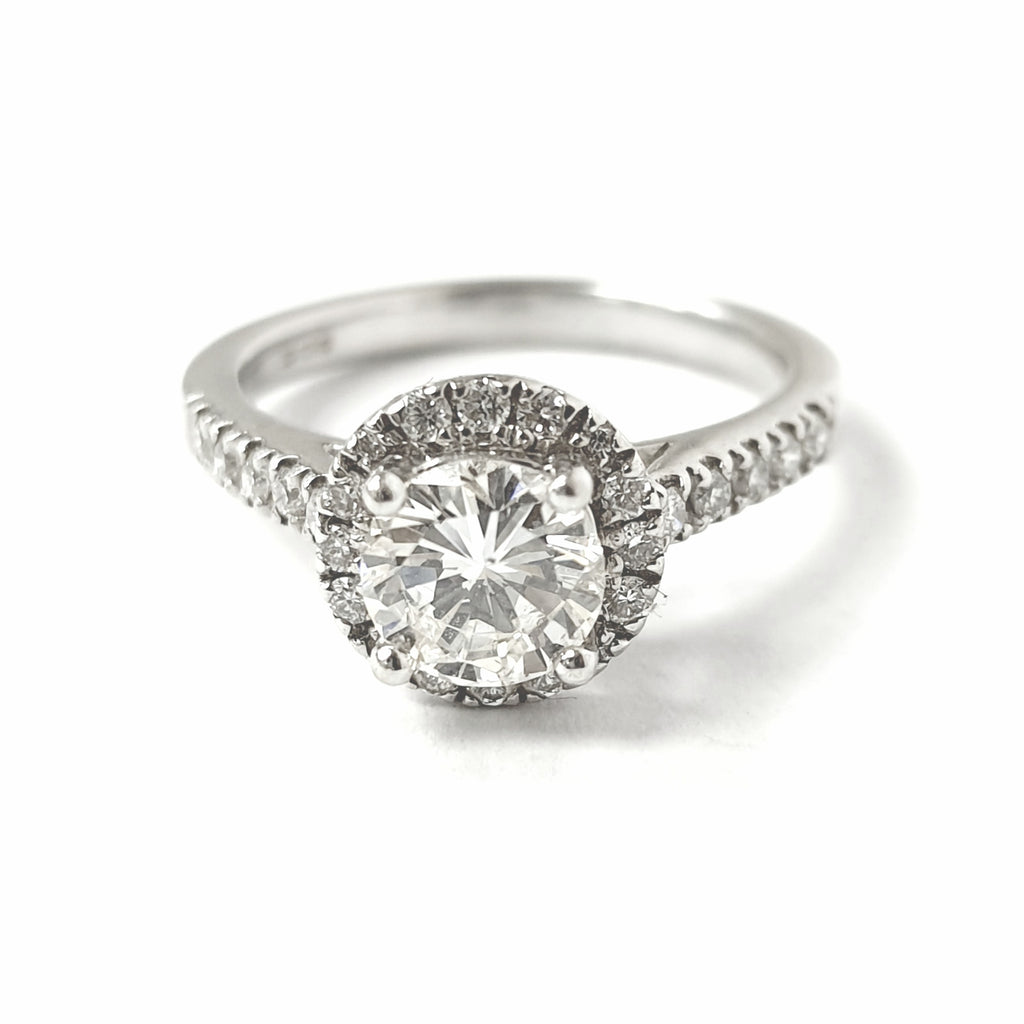 18ct White Gold Halo Solitaire Ring 0.90ct