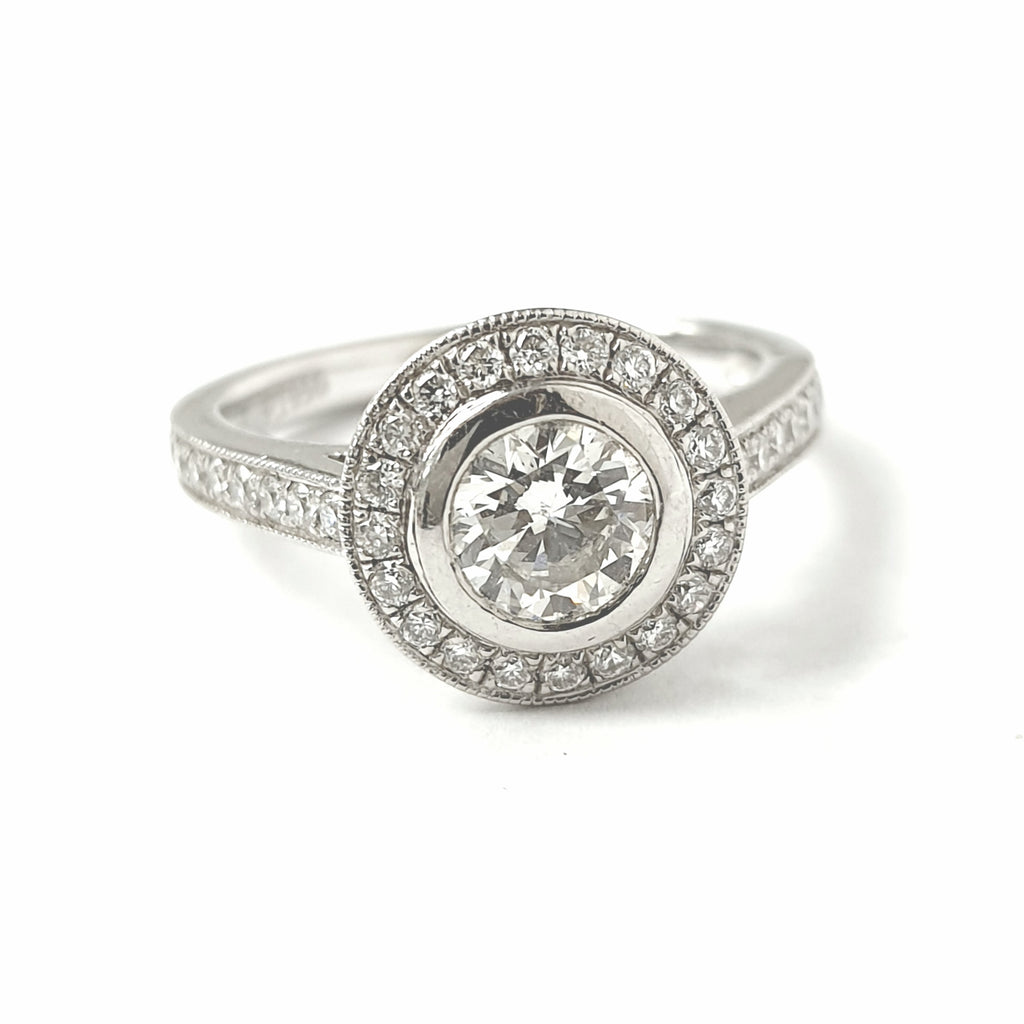 Platinum Rub Over Halo Solitaire Ring 1.09ct