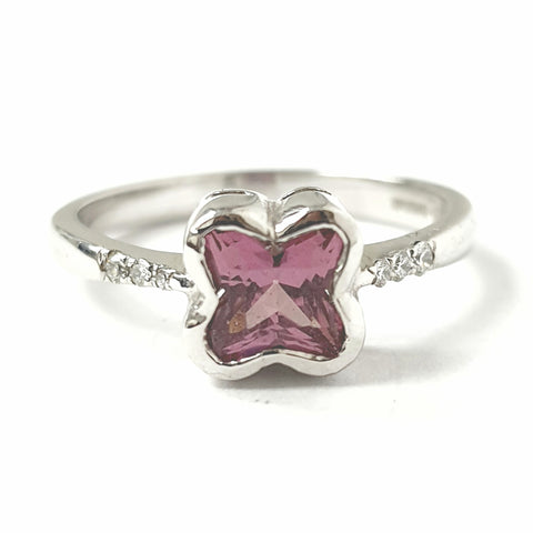 18ct White Gold Pink Stone Ring