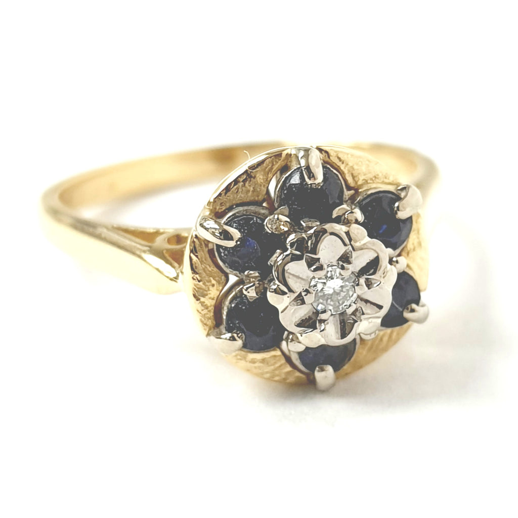 18ct Yellow Gold Diamond & Sapphire Ring