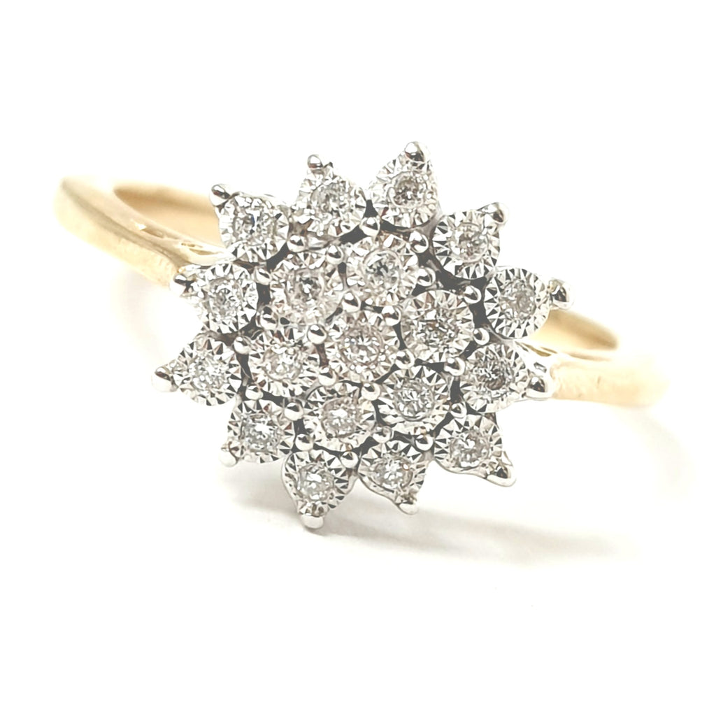 9ct Yellow Gold Flower Cluster Ring 0.10ct