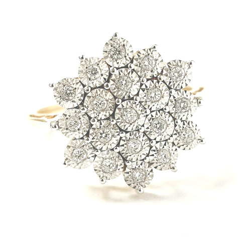 9ct Yellow Gold Flower Cluster Ring 0.20ct