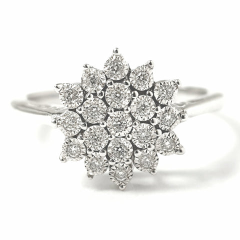 9ct White Gold Flower Cluster Ring 0.10ct