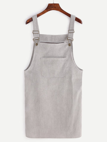 Wanderers Co 'Corduroy - Grey' Pinafore Dress