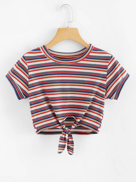 Wanderers Co 'Arlo Knot - Vintage Red & Blue' Women's Crop