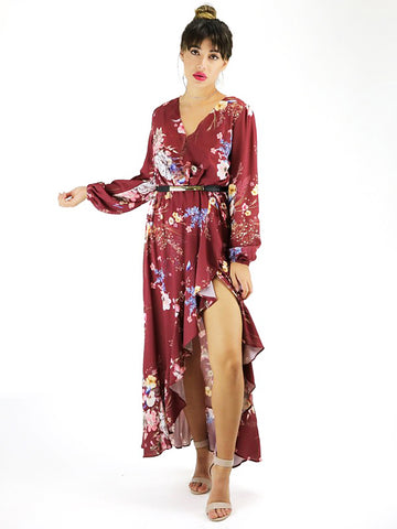 Mia 'Floral Longsleeve - Burgundy' Dress